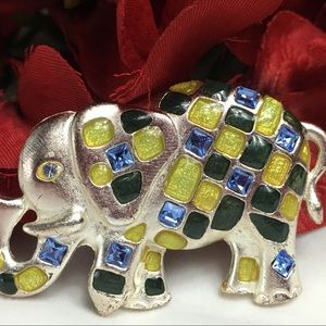 Jewelry - Silver tone & Enamel Trunk Up Elephant